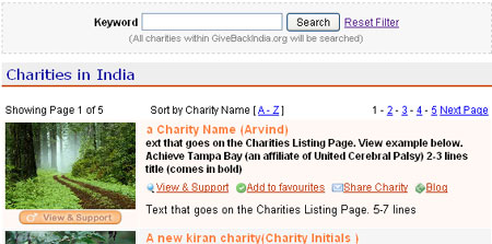 Charity Pagination Ajax