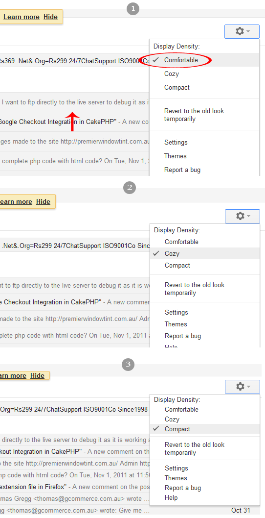 gmail new look density