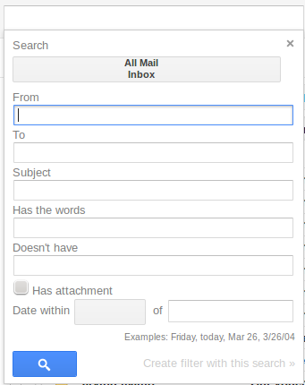 gmail new look search