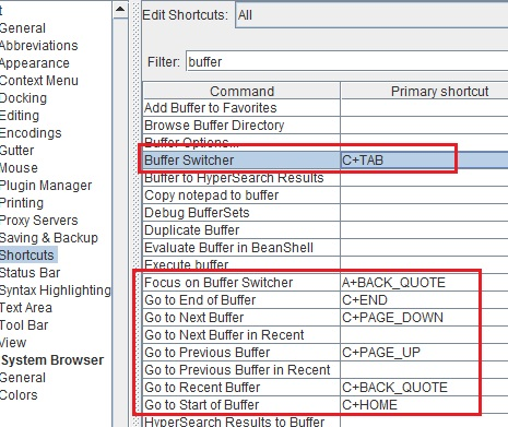 Keyword shortcuts to working files or buffers in jEdit
