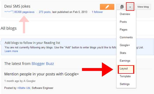 Blogger subscribe via email link to layout