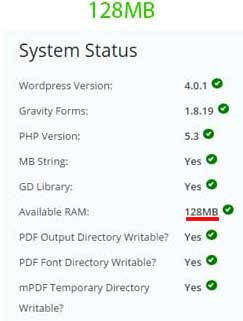 Gravity-form-PDF-extension-requires-128MB-of-memory-med-128MB