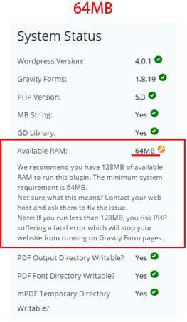 Gravity-form-PDF-extension-requires-128MB-of-memory-med-64MB